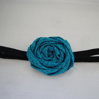 Rosette Headband Vivid Blue // Perfect for by thepinkgiraffeshop