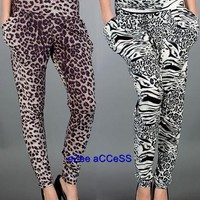 SEXY WOMENS TRENDY MOD VINTAGE ANIMAL PRINT LEGGINGS PARACHUT HAREM PANTS S,M,L