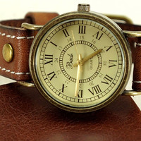 Vintage Stitch Leather Strap Watch