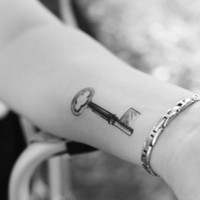vintage skeleton key temporary tattoo by pepperink on Etsy