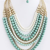 Christina Layered Bead Statement Necklace