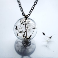 Dandelion Necklace 8 Specimen Wish Glass by NaturalPrettyThings
