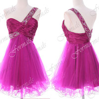 One Shoulder with Beaded Tulle Mini Short Hot Pink Homecoming Dresses, Mini Prom Dresses, Cocktail Dresses, Wesding Party Dresses