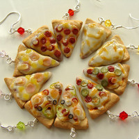 RESERVED for Tonja Pizza Slice Earrings - Miniature Food Polymer Clay Jewelry
