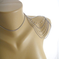 BEAD CHAIN AND silver Shoulder Necklace by IndependentAccents