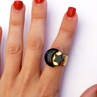 Onyx moon & star ring