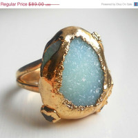30% OFF SALE Mint green druzy ring - Gold-dipped - Chrysoprase - Raw gemstone - herkimer diamond