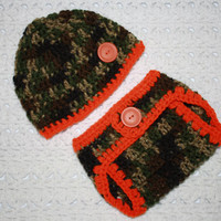 Infant Boys Hunter Camo and Orange Baby Diaper Cover and Baby Hat Set-  Baby Shower Gift, Ready to Ship