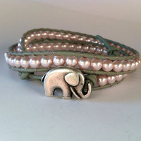 GOOD LUCK ELEPHANT Swarovski Pearl Wrap by Jennasjewelrydesign