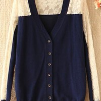 Sweet hook flower bud silk joining blue v-neck cardigan from Fanewant