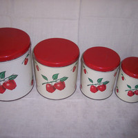 Decoware Kitchen Canisters 1950s Tin with Apple by abbiesvintage