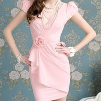 Hot sell pink flowers drape tight bubble short-sleeved dress