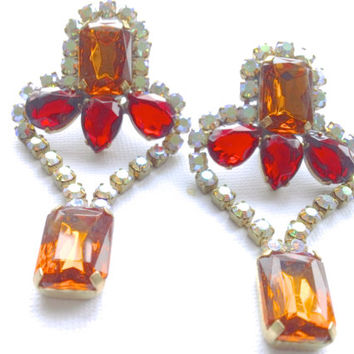 Czech Rhinestone Statement Earrings Orange Red Glamour Mad Men Party Valentines Statement Jewelry
