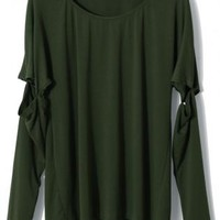 Dark Green Oversized Crew Neck Top with Cutout Sleeves