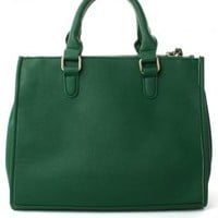 Green Handbag with Buckle Closure & Removable Straps