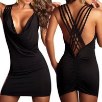 Amazon.com: LOCOMO Sexy Women Fashion Open Back Cowl Neck Party Clubwear Cocktail Lycra Mini Dress BD215 BK One Size Black: Clothing