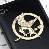 The Hunger Games Logo Mockingjay pendant black by qizhouhuang
