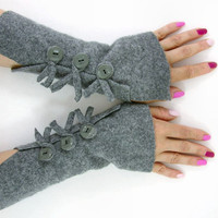 grey arm warmers fingerless mittens  wrists warmers arm cuffs fingerless gloves recycled wool fall eco friendly tagt team