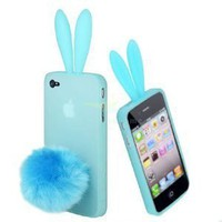 Amazon.com: Light Blue Bunny Rabbit with Cute Ears Case Cover for Apple iPhone 4 4S with Stand Tail: Cell Phones & Accessories
