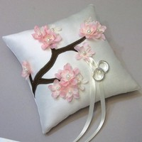 Pink Cherry Blossoms Ring Bearer Pillow | WhiteThistleBridalDesigns - Wedding on ArtFire