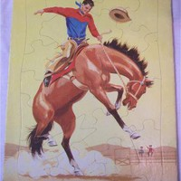 Vintage Frame Tray Puzzle The Rodeo Horse by SandyCreekCollectables