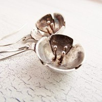 Fine Silver Mountian Laural Flower Earrings Made from Metal Clay | WestWindCreations - Jewelry on ArtFire