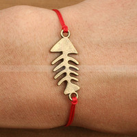 Adjustable Fish bone charm bracelet by mosnos