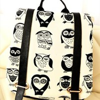 Black and White Cute Owls Print Backpack Black