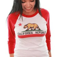 California Republic State Flag Baseball Raglan Jersey by Dolphin Shirt Co