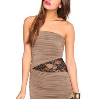 Laced Drape Dress - Mocha in  Sale at Nasty Gal