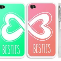 "Set of 2 Mint Blue Green and Coral Best Friends iphone 4 Case- ""Besties"" iPhone 4s Case with Infinity Heart Logo:Amazon:Cell Phones & Accessories"