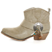 Big Buddha West Natural Paris Embellished Cowgirl Ankle Boots - $69.00