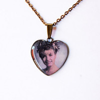 "Laura Palmer (Sheryl Lee) from Television Series ""Twin Peaks"" - Handmade Heart Cameo Pendant Necklace"