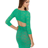 Sexy Lace Dress - Teal Dress - $39.00