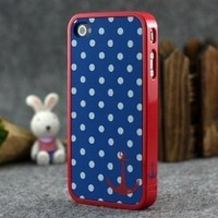 Blue and White Polka Dot Pattern Hard Case with Red Trim and Anchor Design for Apple Iphone 4s / 4 (At&amp;t, Verizon, Sprint)