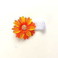 Sunflower Headband, white stretch with an orange and yellow  flower with an chevron button center, girl's, women's,