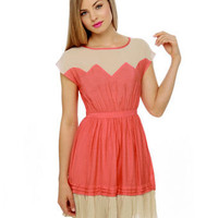 Coral Dress - Color Block Dress - Short Sleeve Dress - $40.00