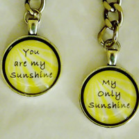 You Are My Sunshine Keychain Set. Mother Daughter, Best Friends Keychain Set. 18 Inch Ball Chains.