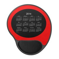 Black and Red 2014 Calendar Gel Mouse Pad