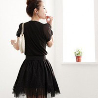 Lace Eyelashed Skirt in Noir - Retro, Indie and Unique Fashion