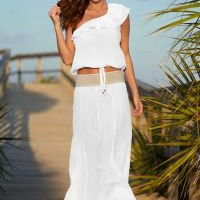 Asymetrical gauze top, Gauze crochet waist skirt Cover Up