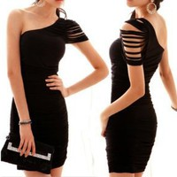 LOCOMO Sexy Special One Cut Out Shoulder Sleeveless Mini Cocktail Party Dress Clubwear BD208 BK One Size Black