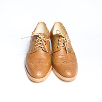 honey brown oxford brogues shoes cuban heel - FREE WORLDWIDE SHIPPING