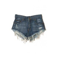 Frayed Hem Threadbare Style Denim Shorts - Pants - Reecn.com
