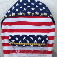 Studded Backpack - American Flag - Stars & Stripes-  Silver , Gold, or Black Studs