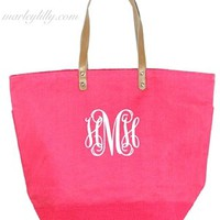 Monogrammed Bubblegum Bright Pink Large Jute Bag