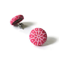 Pink Flowers Art Deco Print Fabric Covered Button Earrings