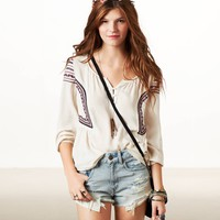 AE Embroidered Boho Top | American Eagle Outfitters