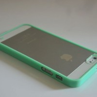 Mint Green Lovely Soft Trim Ultra High Clear Back Hard Cover Bumper Case for iPhone 5 5G:Amazon:Cell Phones & Accessories