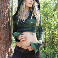 Hemp Fleece Olive Moss Pixie Goddess Cropped Hoodie